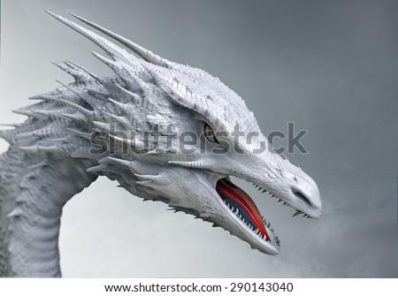white dragon - stock photo