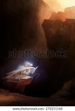 white dragon in rocky cave  - stock photo