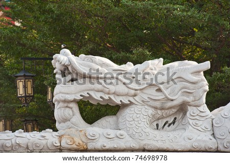 White dragon statue in chinese temple, Thailand