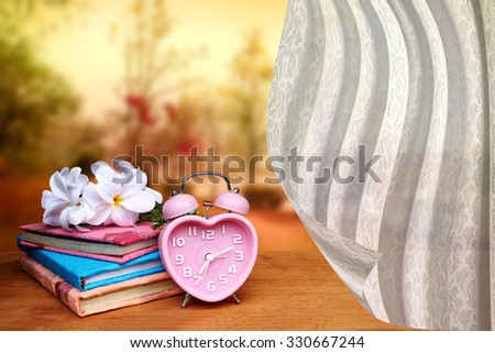 white drapery on books and vintage clock on dry trees and lake in public park background - stock photo