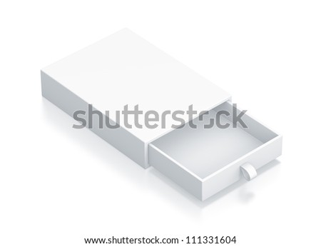 White Drawer Box. High resolution 3D illustration with clipping paths. - stock photo