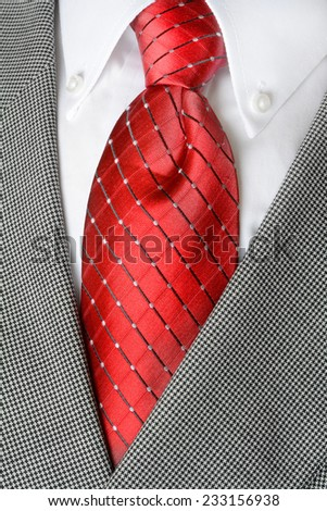 White dress shirt with red tie and suit jacketdetailed closeup - stock photo