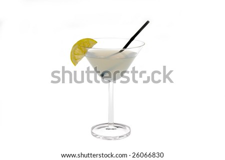 white drink with lemon juice and decorate with lemon