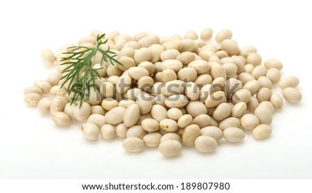 White dry beans heap isolated - stock photo