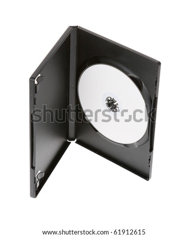 White DVD disc in the black box on the white background