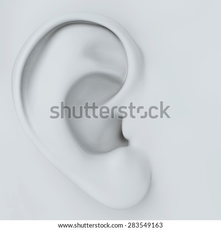 white ear of the person close up