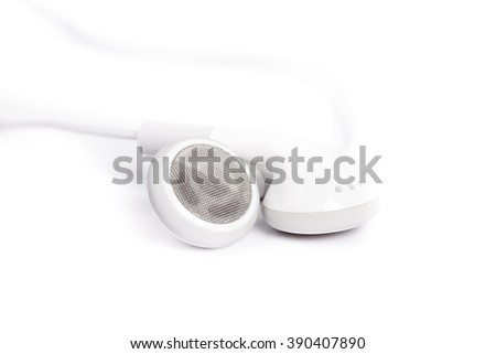 white earphones isolated on a white background