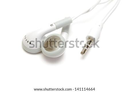 White earphones isolated on white - stock photo