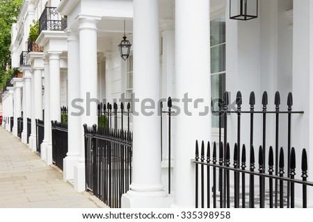 White edwardian residential houses in West London  - stock photo