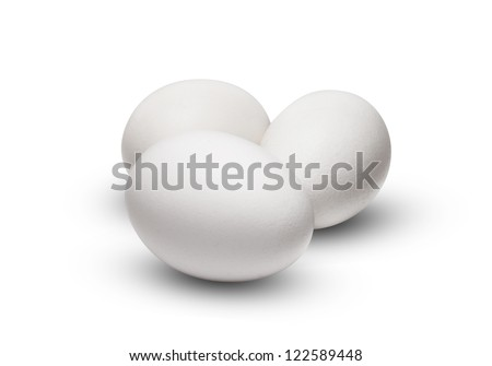 White Egg Group Isolated on White Background - stock photo