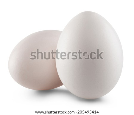 White egg isolated on white background. Clipping Path - stock photo