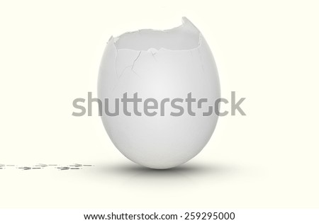 White egg with the top cracked open, very clean on white background and tracks from a escaping chicken. - stock photo