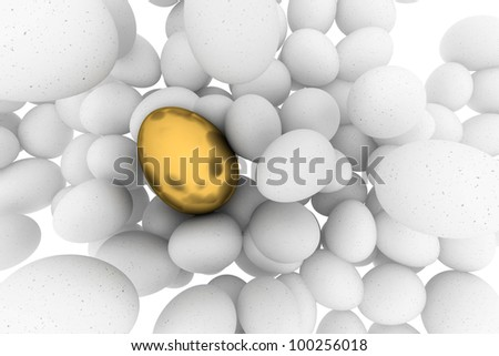 White Eggs abstract background with one golden egg - stock photo