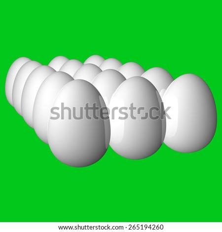 White Eggs Green Screen  - stock photo