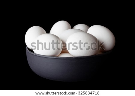 White eggs in a black bowl on black background from side