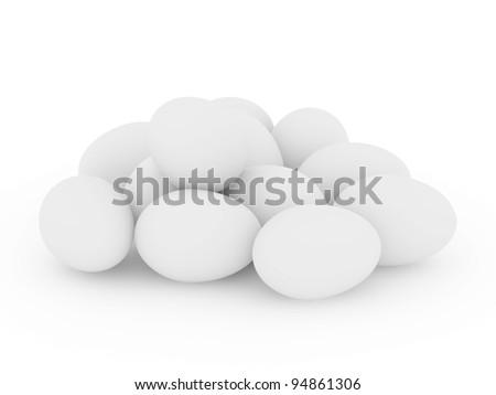 White eggs on a white background 3D render - stock photo