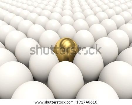 White eggs with golden egg among them. 3d render illustration. - stock photo