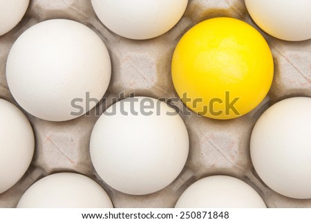 white eggs with one gold egg - stock photo