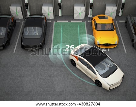 White electric car driving into parking lot with parking assist system. 3D rendering image. - stock photo