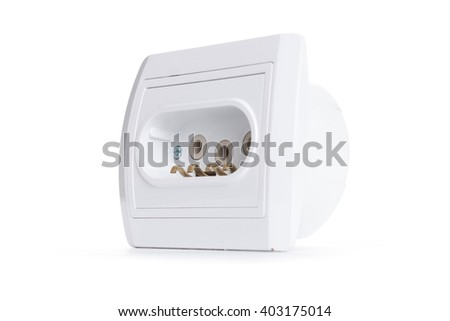 White electric socket . European system.isolated on white