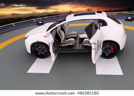 White electric SUV parking on the helipad. The doors opened and front seats rotated to backward. Concept for autonomous vehicle. 3D rendering image.