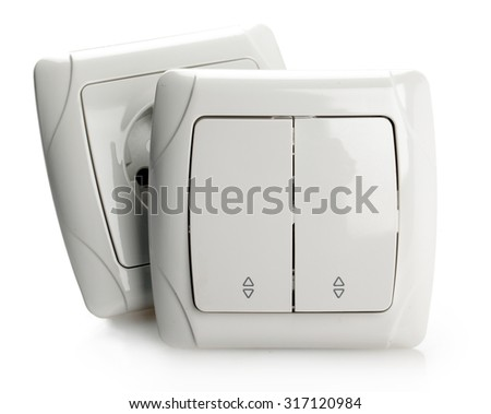 White Electric Switch and Socket on White background.  - stock photo