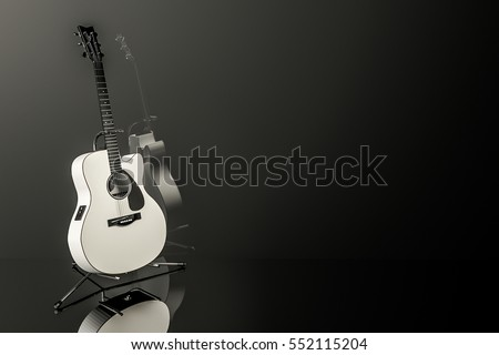 White electro-acoustic guitar on chrome stand with dark background and reflection. 3D rendered. Copy space or room for text.