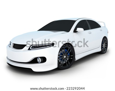 White electro car (done in 3d) - stock photo