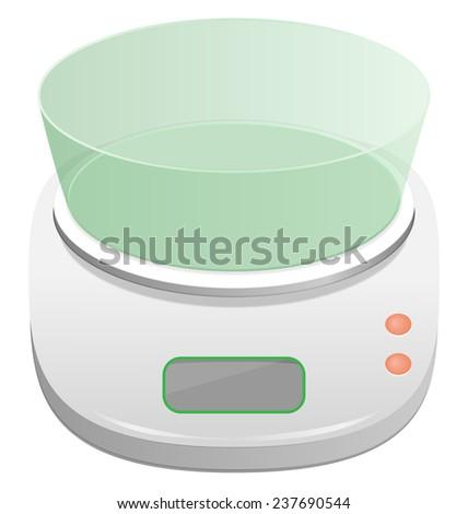 White electronic kitchen scale isolated on white background - stock photo