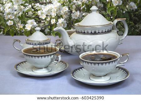 White elegant tea set of teapot sugar bowl and two poured cups on the table & White Elegant Tea Set Teapot Sugar Stock Photo (Royalty Free ...