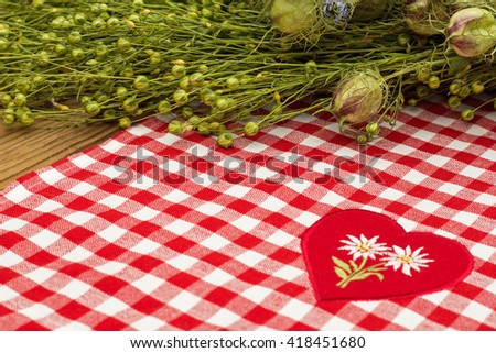 White embroidered Edelweiss flower on heart appliques in the center of the checkered red white tablecloth on green flax twig  with  seeds and rustic wooden background - stock photo