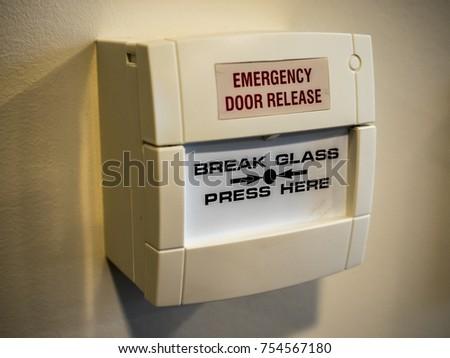 White Emergency Door Release Break Glass Stock Photo Royalty Free