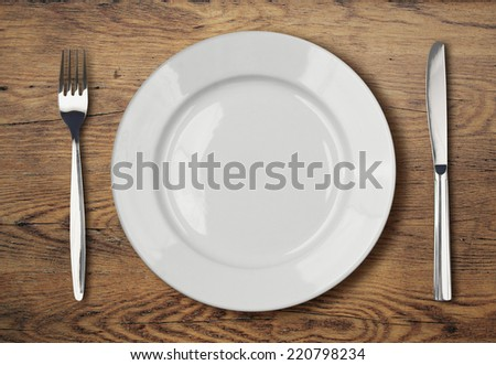 white empty dinner plate setting on table