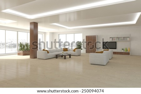 white empty interior concept with flower-3D rendering - stock photo