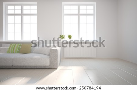 white empty interior concept with flower on a window-3D rendering - stock photo