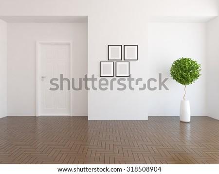 white empty interior3d illustration
