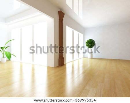 white empty interior. 3d illustration - stock photo