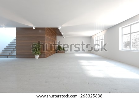 white empty interior design-3D rendering - stock photo