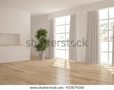 white empty interior design of living room. Scandinavian style.3D illustration - stock photo
