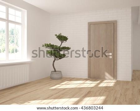 white empty interior design of living room with modern door.3D illustration - stock photo