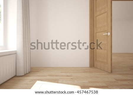 white empty interior design with open door scandinavian style 3d illustration