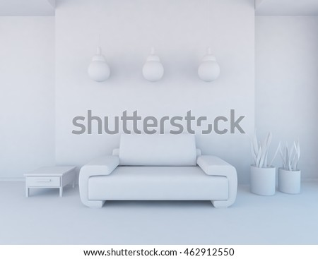 white empty interior with a modern sofa, vases and lamps. 3d illustration