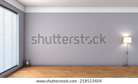white empty interior with blinds  - stock photo
