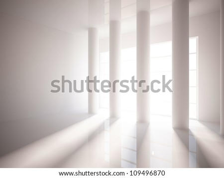 white empty interior with columns - stock photo
