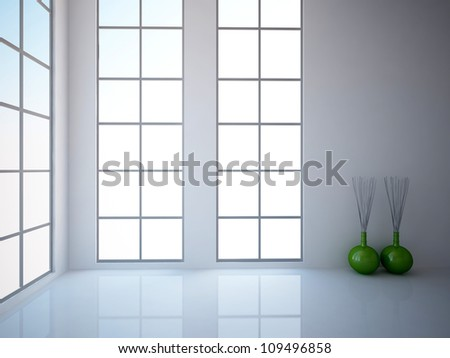 white empty interior with green vases - stock photo