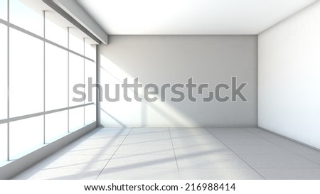 white empty interior with large window