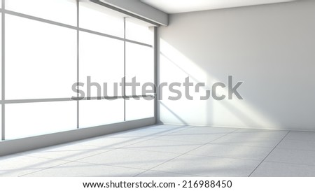 white empty interior with large window - stock photo