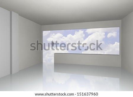 white empty interior with sky, 3D rendering - stock photo