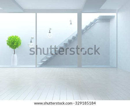 white empty interior with stairs 3d illustration