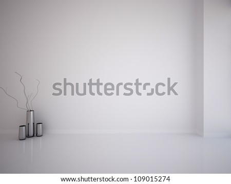 white empty interior with vases - stock photo
